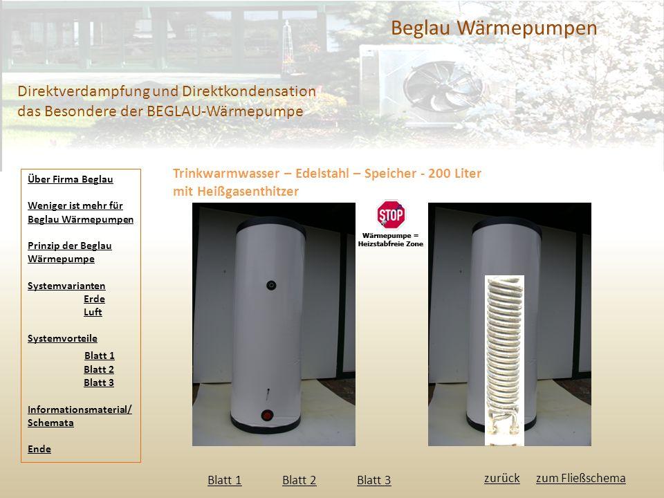 Beglau Wärmepumpen Direktverdampfung und Direktkondensation das Besondere der BEGLAU-Wärmepumpe Trinkwarmwasser – Edelstahl – Speicher - 200 Liter mit