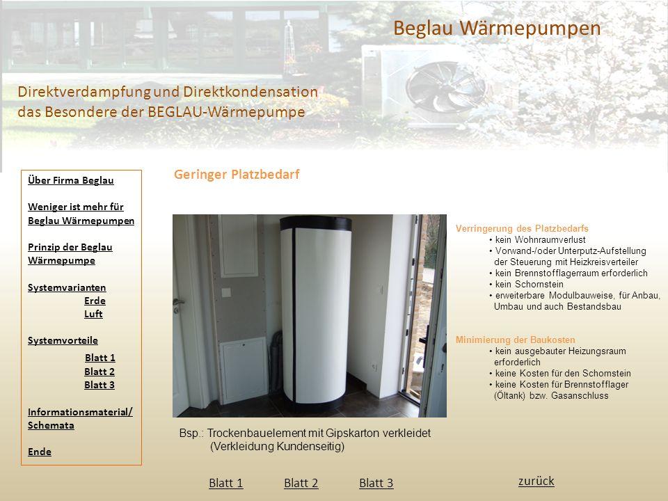 Beglau Wärmepumpen Direktverdampfung und Direktkondensation das Besondere der BEGLAU-Wärmepumpe Geringer Platzbedarf Blatt 1 Blatt 2 Blatt 3 Blatt 1Bl