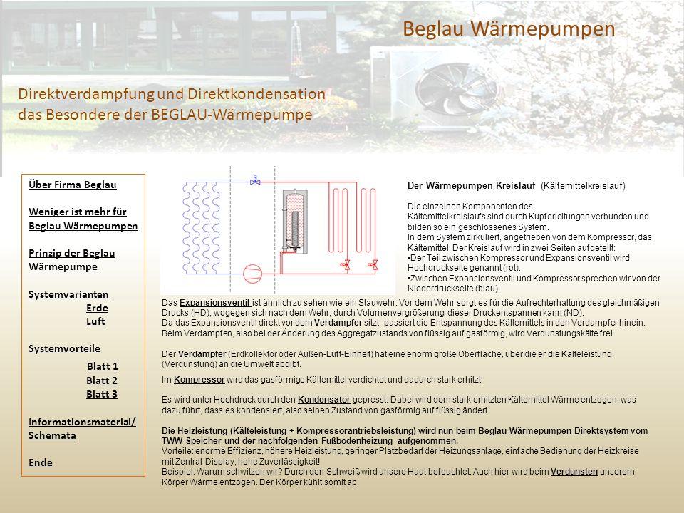 Beglau Wärmepumpen Direktverdampfung und Direktkondensation das Besondere der BEGLAU-Wärmepumpe Das Expansionsventil ist ähnlich zu sehen wie ein Stau
