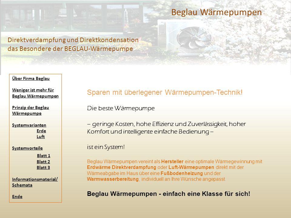 Beglau Wärmepumpen Direktverdampfung und Direktkondensation das Besondere der BEGLAU-Wärmepumpe Sparen mit überlegener Wärmepumpen-Technik! Die beste