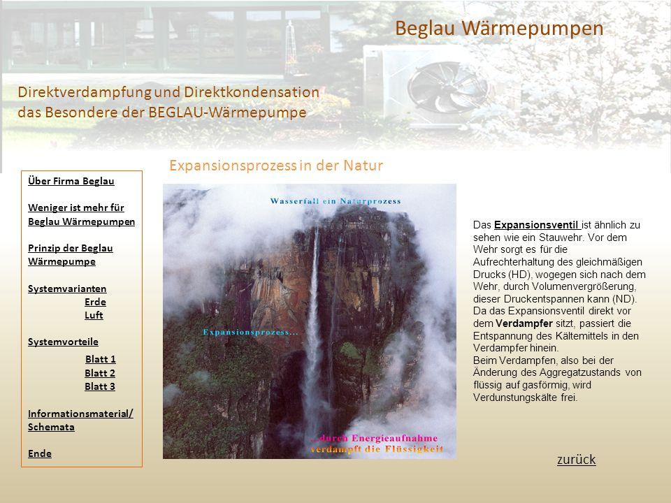 Beglau Wärmepumpen Direktverdampfung und Direktkondensation das Besondere der BEGLAU-Wärmepumpe zurück Expansionsprozess in der Natur Über Firma Begla
