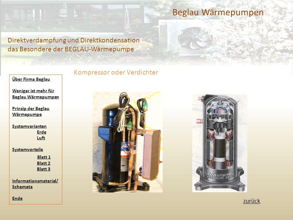 Beglau Wärmepumpen Direktverdampfung und Direktkondensation das Besondere der BEGLAU-Wärmepumpe zurück Kompressor oder Verdichter Über Firma Beglau We
