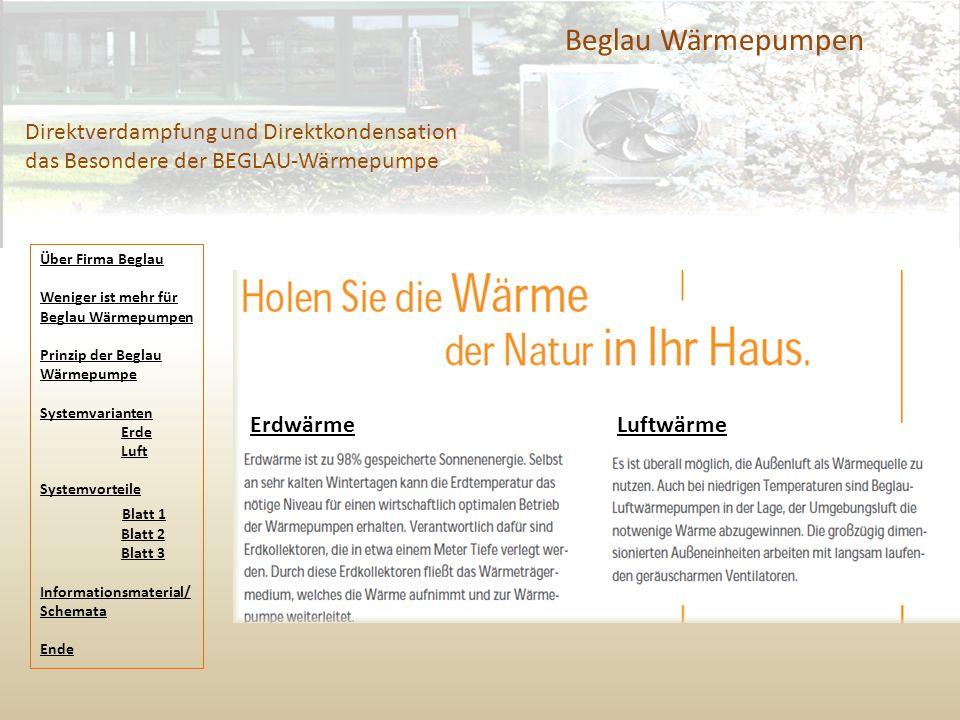 Beglau Wärmepumpen Direktverdampfung und Direktkondensation das Besondere der BEGLAU-Wärmepumpe ErdwärmeLuftwärme Über Firma Beglau Weniger ist mehr f