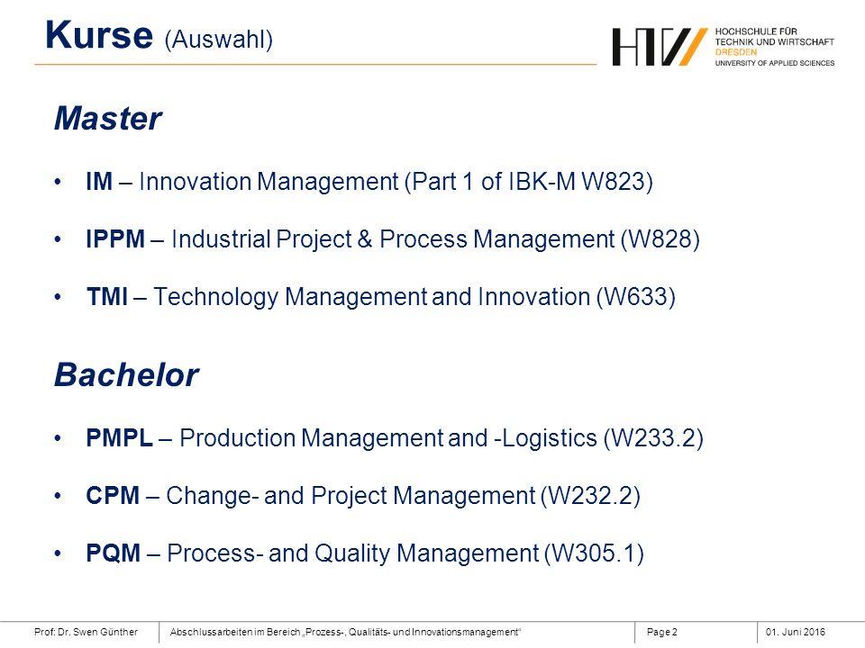 """Prof: Dr. Swen GüntherAbschlussarbeiten im Bereich """"Prozess-, Qualitäts- und Innovationsmanagement""""01. Juni 2016Page 2 Master IM – Innovation Manageme"""