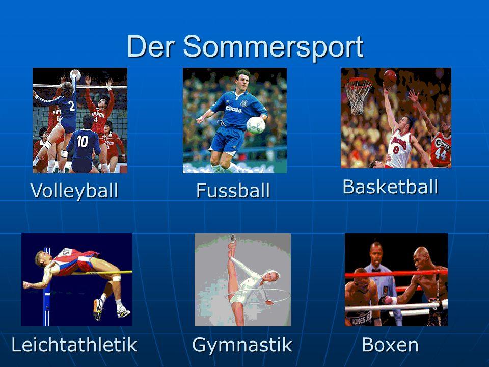 Es gibt viele Sportarten: Leichtathetlik, Schwerathletik, Radsport, Wassersport, Schilaufen, Schlittschuhlaufen und andere.