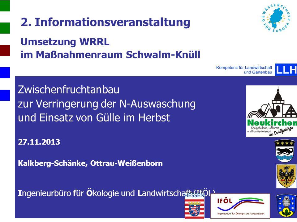 2. Informationsveranstaltung Umsetzung WRRL im Maßnahmenraum Schwalm-Knüll Zwischenfruchtanbau zur Verringerung der N-Auswaschung und Einsatz von Güll