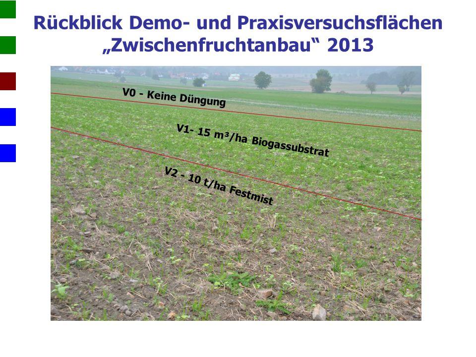 """V0 - Keine Düngung V1- 15 m³/ha Biogassubstrat V2 - 10 t/ha Festmist Rückblick Demo- und Praxisversuchsflächen """"Zwischenfruchtanbau 2013"""
