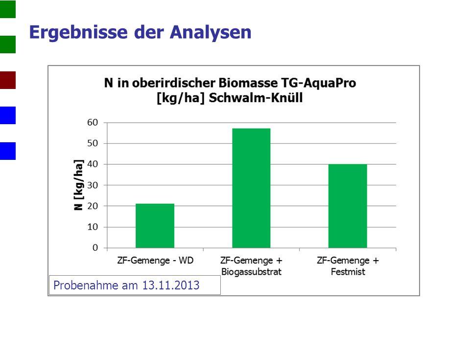 Ergebnisse der Analysen Probenahme am 13.11.2013