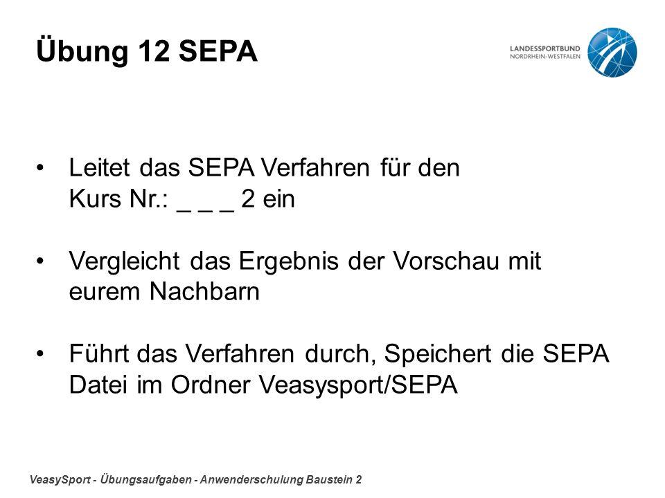 VeasySport - Übungsaufgaben - Anwenderschulung Baustein 2 Übung 12 SEPA Leitet das SEPA Verfahren für den Kurs Nr.: _ _ _ 2 ein Vergleicht das Ergebnis der Vorschau mit eurem Nachbarn Führt das Verfahren durch, Speichert die SEPA Datei im Ordner Veasysport/SEPA