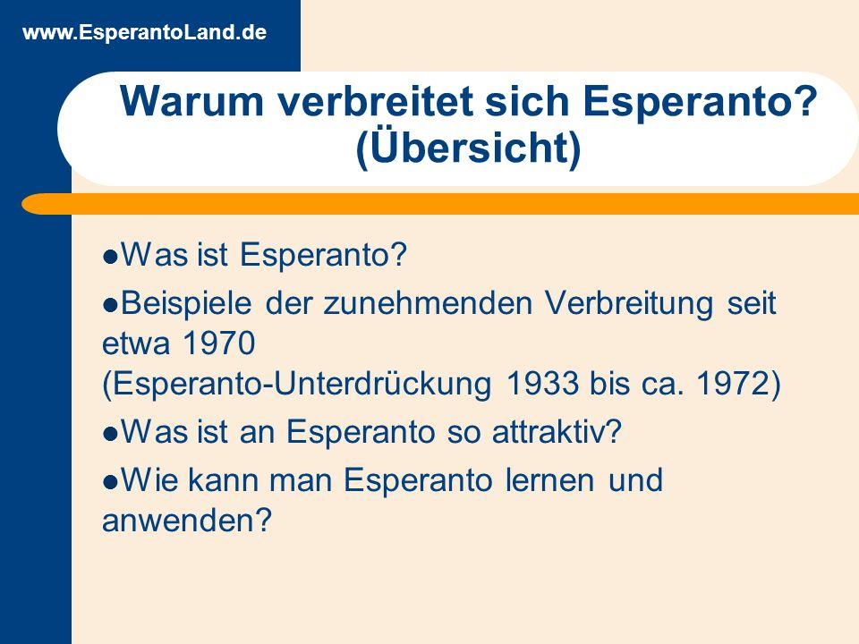 www.EsperantoLand.de Die internationale Sprache Esperanto 1887 veröffentlicht von Ludwig Zamenhof Erster Weltkongress 1905 (ca.