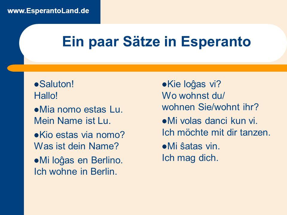 www.EsperantoLand.de www.Esperanto.Land Nachrichten und Informationen zur Anwendung von Esperanto EsperantoLand- Neujahrstreffen Forum zu Sprachfragen und Esperanto allgemein Esperanto-Buchladen im Netz: Lehrbücher, Wörterbücher, leichte Lektüre, Original-Literatur Überblick Esperanto- Gruppen weltweit