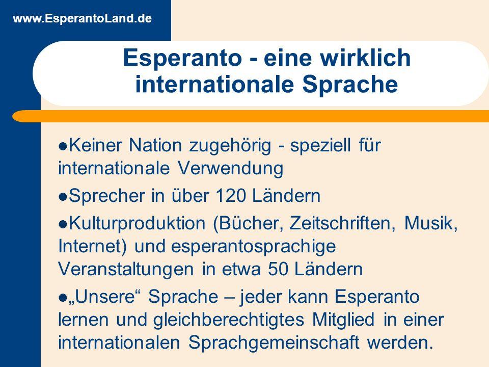 www.EsperantoLand.de Esperanto an ungarischen Universitäten Fremdsprachen sind Pflicht für Studenten - Esperanto ist wählbar 1998: 0,4 % der gewählten Sprachen Seit 2002: etwa 6000 Prüfungen pro Jahr, d.