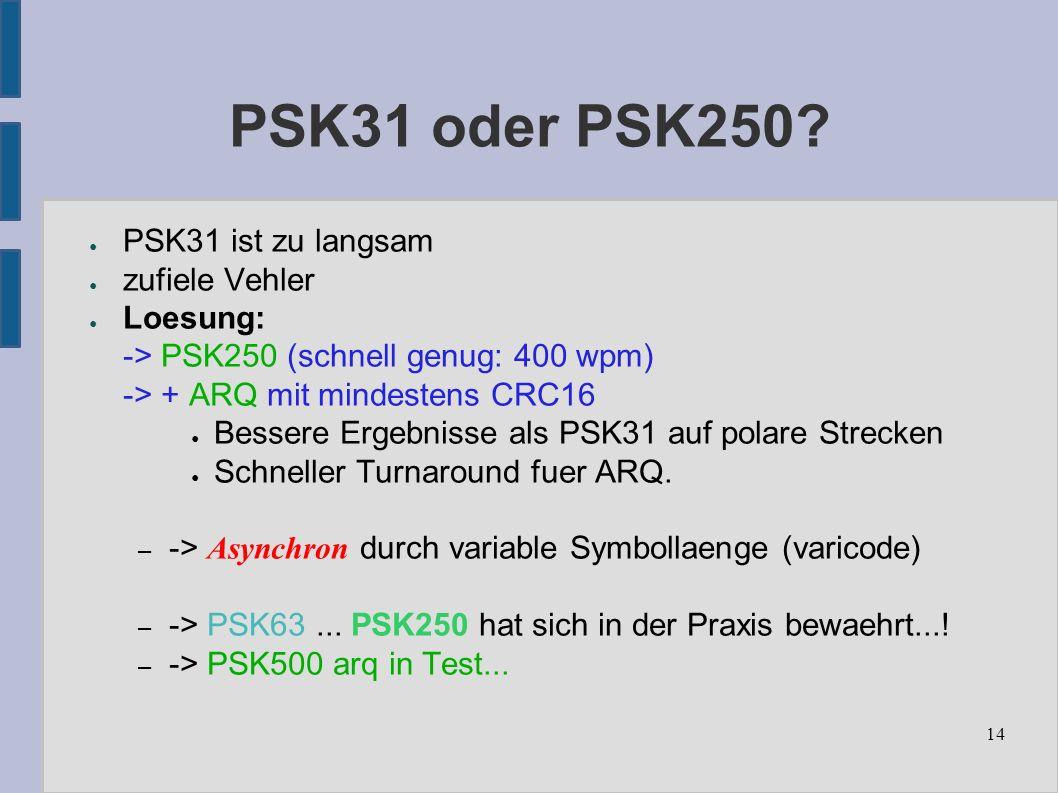 14 PSK31 oder PSK250.