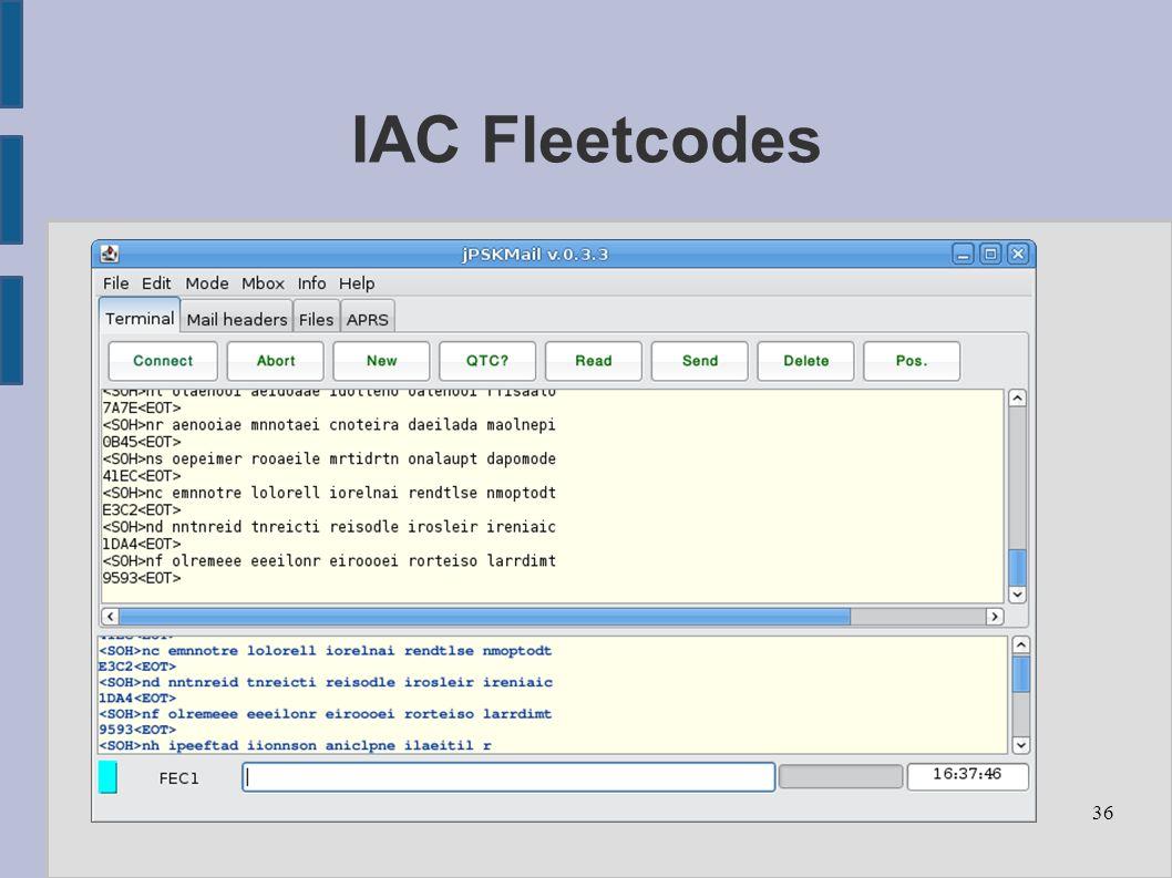 36 IAC Fleetcodes