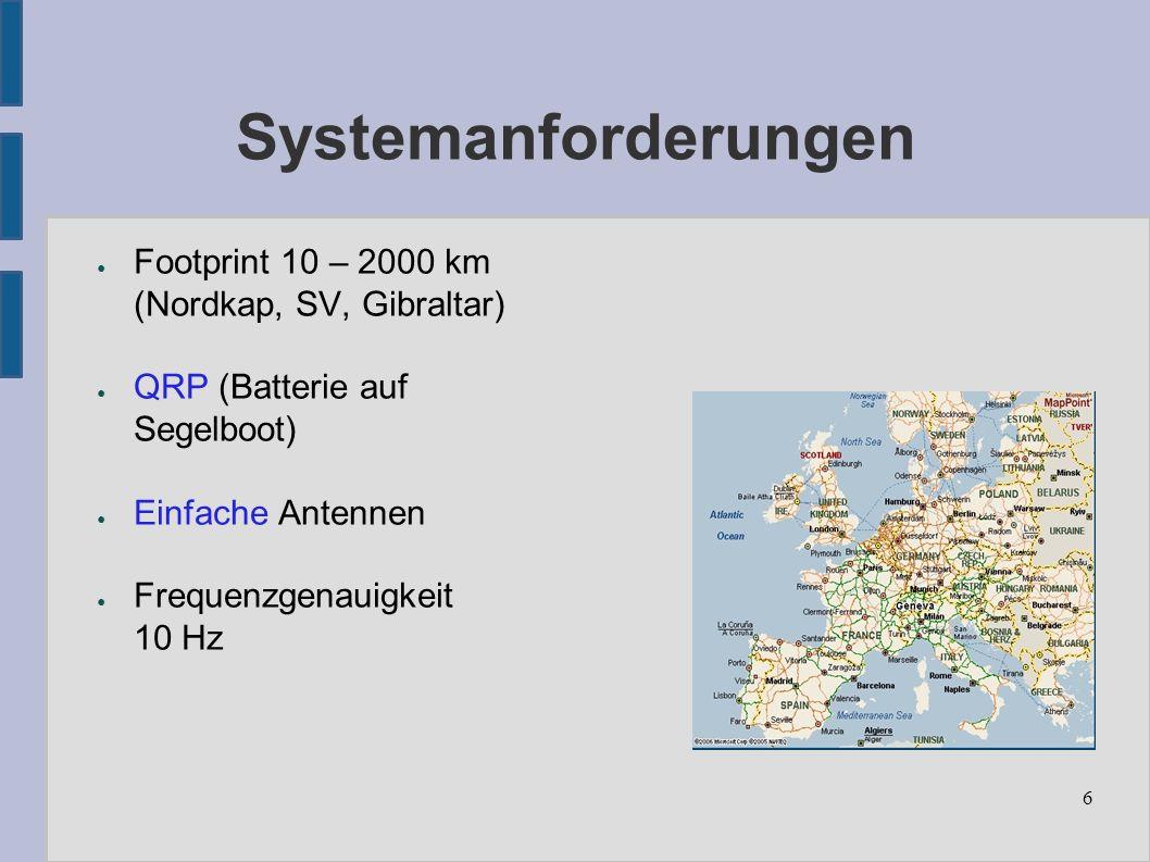 6 Systemanforderungen ● Footprint 10 – 2000 km (Nordkap, SV, Gibraltar) ● QRP (Batterie auf Segelboot) ● Einfache Antennen ● Frequenzgenauigkeit 10 Hz