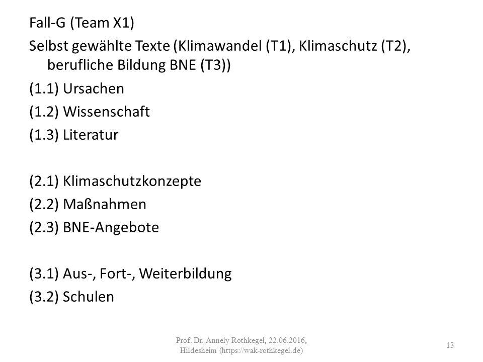 Fall-G (Team X1) Selbst gewählte Texte (Klimawandel (T1), Klimaschutz (T2), berufliche Bildung BNE (T3)) (1.1) Ursachen (1.2) Wissenschaft (1.3) Literatur (2.1) Klimaschutzkonzepte (2.2) Maßnahmen (2.3) BNE-Angebote (3.1) Aus-, Fort-, Weiterbildung (3.2) Schulen 13 Prof.