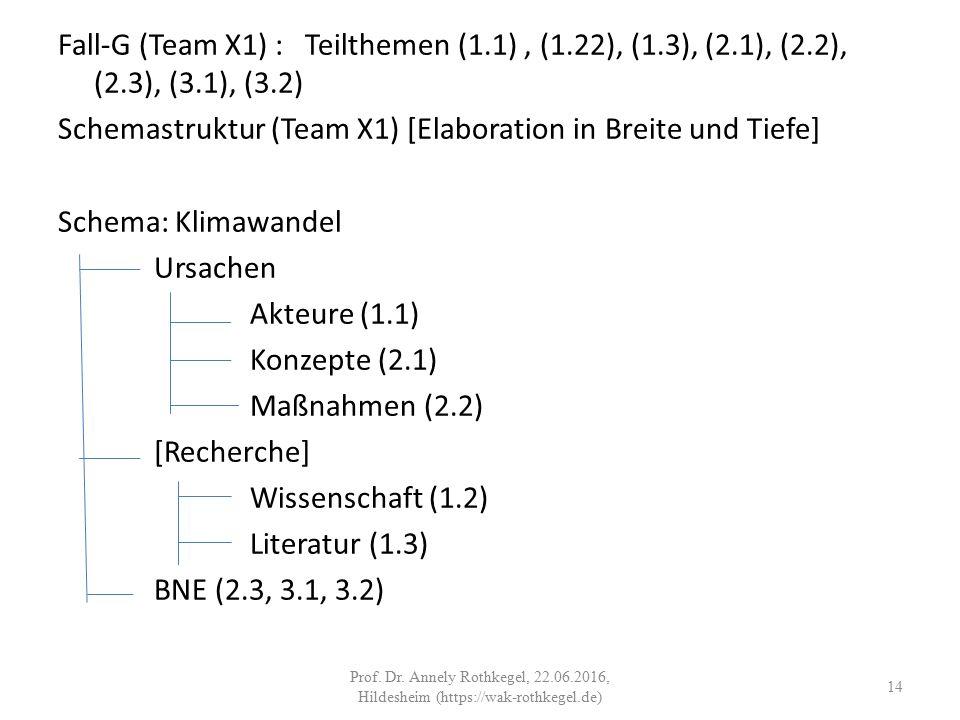 Fall-G (Team X1) : Teilthemen (1.1), (1.22), (1.3), (2.1), (2.2), (2.3), (3.1), (3.2) Schemastruktur (Team X1) [Elaboration in Breite und Tiefe] Schema: Klimawandel Ursachen Akteure (1.1) Konzepte (2.1) Maßnahmen (2.2) [Recherche] Wissenschaft (1.2) Literatur (1.3) BNE (2.3, 3.1, 3.2) 14 Prof.
