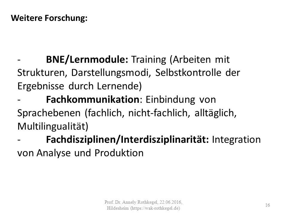-BNE/Lernmodule: Training (Arbeiten mit Strukturen, Darstellungsmodi, Selbstkontrolle der Ergebnisse durch Lernende) -Fachkommunikation: Einbindung von Sprachebenen (fachlich, nicht-fachlich, alltäglich, Multilingualität) -Fachdisziplinen/Interdisziplinarität: Integration von Analyse und Produktion Weitere Forschung: 16 Prof.