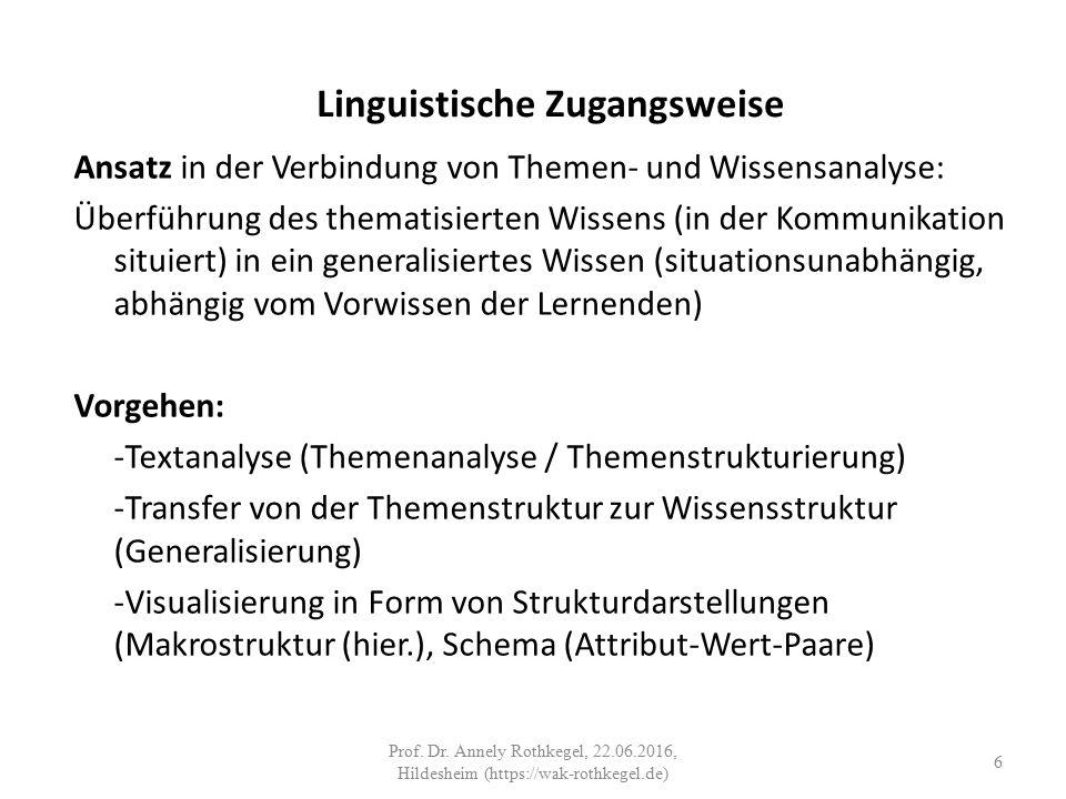 Linguistische Zugangsweise Ansatz in der Verbindung von Themen- und Wissensanalyse: Überführung des thematisierten Wissens (in der Kommunikation situiert) in ein generalisiertes Wissen (situationsunabhängig, abhängig vom Vorwissen der Lernenden) Vorgehen: -Textanalyse (Themenanalyse / Themenstrukturierung) -Transfer von der Themenstruktur zur Wissensstruktur (Generalisierung) -Visualisierung in Form von Strukturdarstellungen (Makrostruktur (hier.), Schema (Attribut-Wert-Paare) 6 Prof.