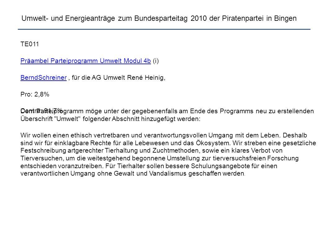 Umwelt- und Energieanträge zum Bundesparteitag 2010 der Piratenpartei in Bingen Ab hier nun vertagte Anträge vom letzten BPT.