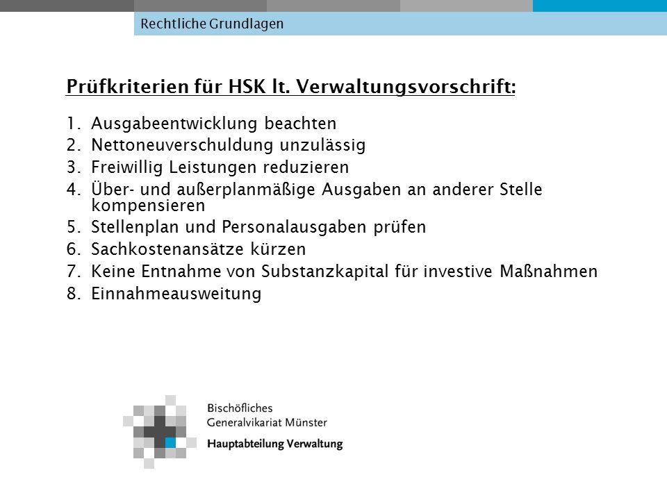 Rechtliche Grundlagen Prüfkriterien für HSK lt.