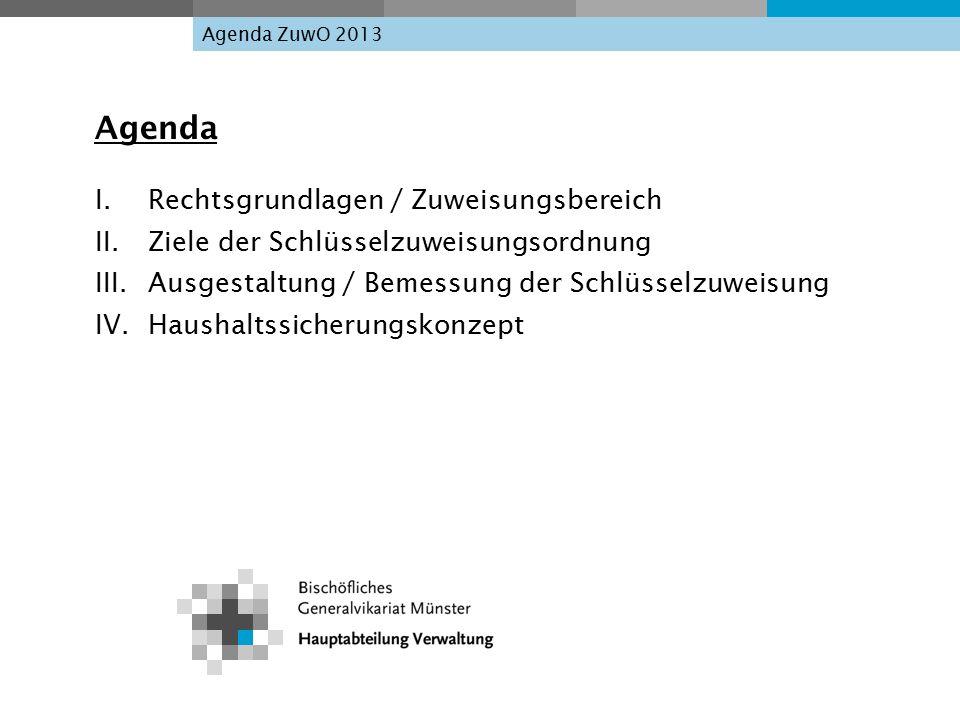 Agenda ZuwO 2013 Agenda I. Rechtsgrundlagen / Zuweisungsbereich II.Ziele der Schlüsselzuweisungsordnung III. Ausgestaltung / Bemessung der Schlüsselzu