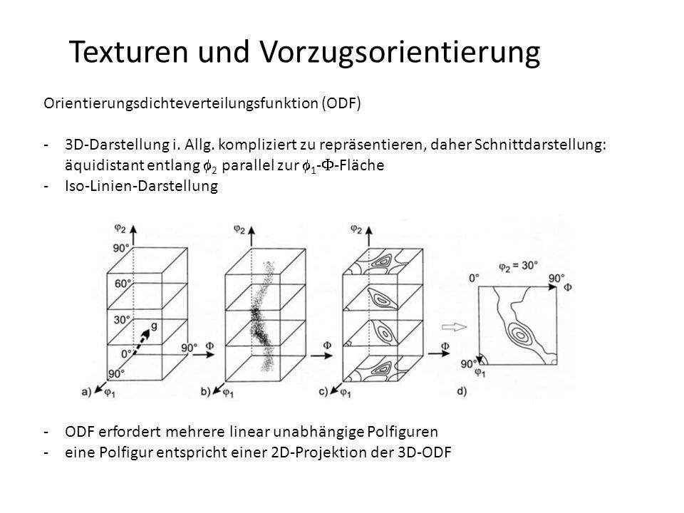 Texturen und Vorzugsorientierung Orientierungsdichteverteilungsfunktion (ODF) -vollständige mathematische Beschreibung der Textur eines einphasigen polykristallinen Materials -gibt den Volumenanteil dV(g) der Kristallite des Probenvolumens V an, welche innerhalb eine Orientierungsintervalls  g eine bestimmte Orientierung g bzgl.