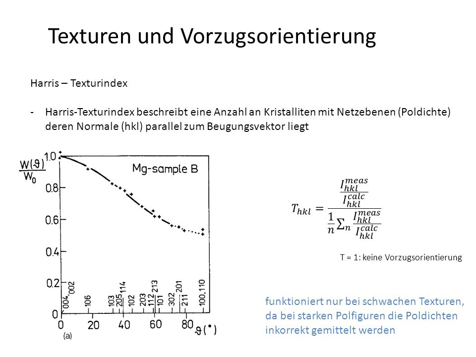 Texturen und Vorzugsorientierung Harris – Texturindex -Harris-Texturindex beschreibt eine Anzahl an Kristalliten mit Netzebenen (Poldichte) deren Normale (hkl) parallel zum Beugungsvektor liegt funktioniert nur bei schwachen Texturen, da bei starken Polfiguren die Poldichten inkorrekt gemittelt werden T = 1: keine Vorzugsorientierung