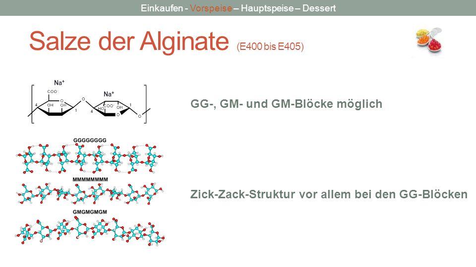 Einkaufen - Vorspeise – Hauptspeise – Dessert Salze der Alginate (E400 bis E405) 1 1 4 4 Na + GG-, GM- und GM-Blöcke möglich Zick-Zack-Struktur vor al
