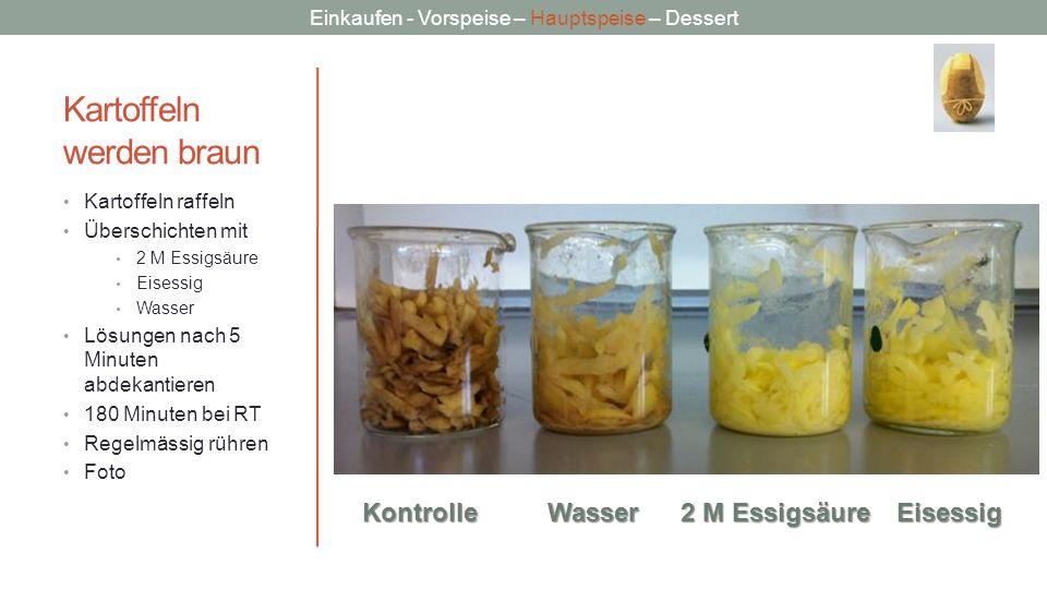 Einkaufen - Vorspeise – Hauptspeise – Dessert Kartoffeln werden braun Kartoffeln raffeln Überschichten mit 2 M Essigsäure Eisessig Wasser Lösungen nac