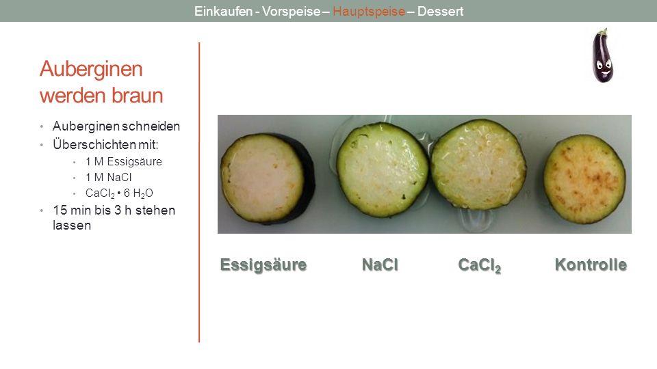 Einkaufen - Vorspeise – Hauptspeise – Dessert Auberginen werden braun Auberginen schneiden Überschichten mit: 1 M Essigsäure 1 M NaCl CaCl 2 6 H 2 O 1
