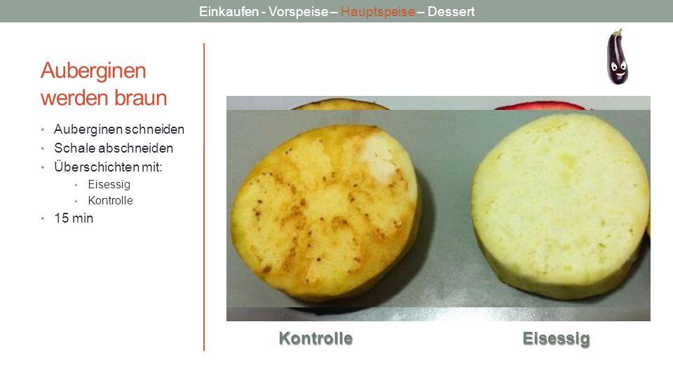 Einkaufen - Vorspeise – Hauptspeise – Dessert Auberginen werden braun Auberginen schneiden Schale abschneiden Überschichten mit: Eisessig Kontrolle 15