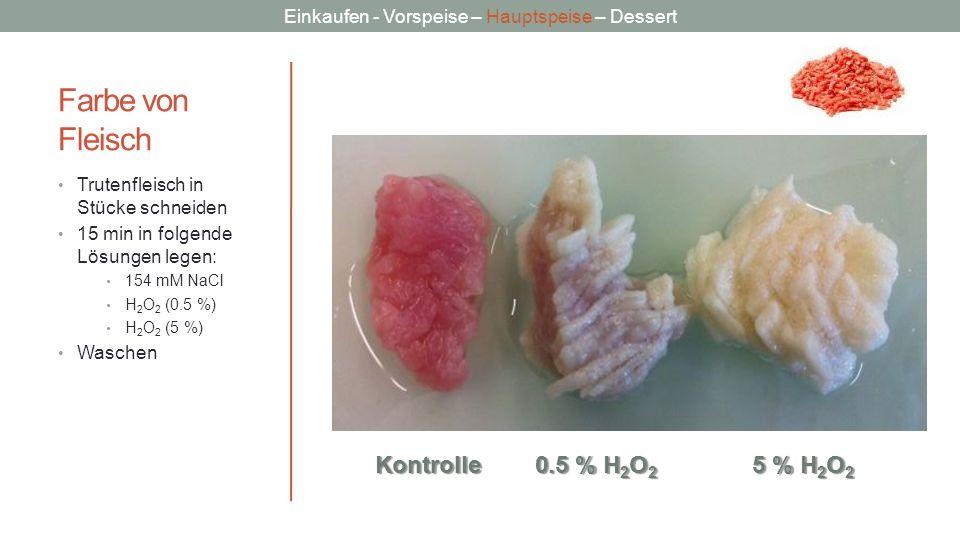 Einkaufen - Vorspeise – Hauptspeise – Dessert Farbe von Fleisch Trutenfleisch in Stücke schneiden 15 min in folgende Lösungen legen: 154 mM NaCl H 2 O