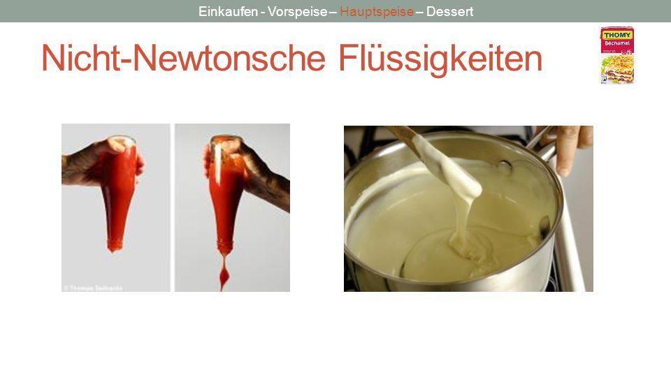 Einkaufen - Vorspeise – Hauptspeise – Dessert Nicht-Newtonsche Flüssigkeiten