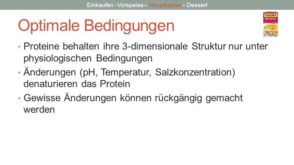 Einkaufen - Vorspeise – Hauptspeise – Dessert Optimale Bedingungen Proteine behalten ihre 3-dimensionale Struktur nur unter physiologischen Bedingunge