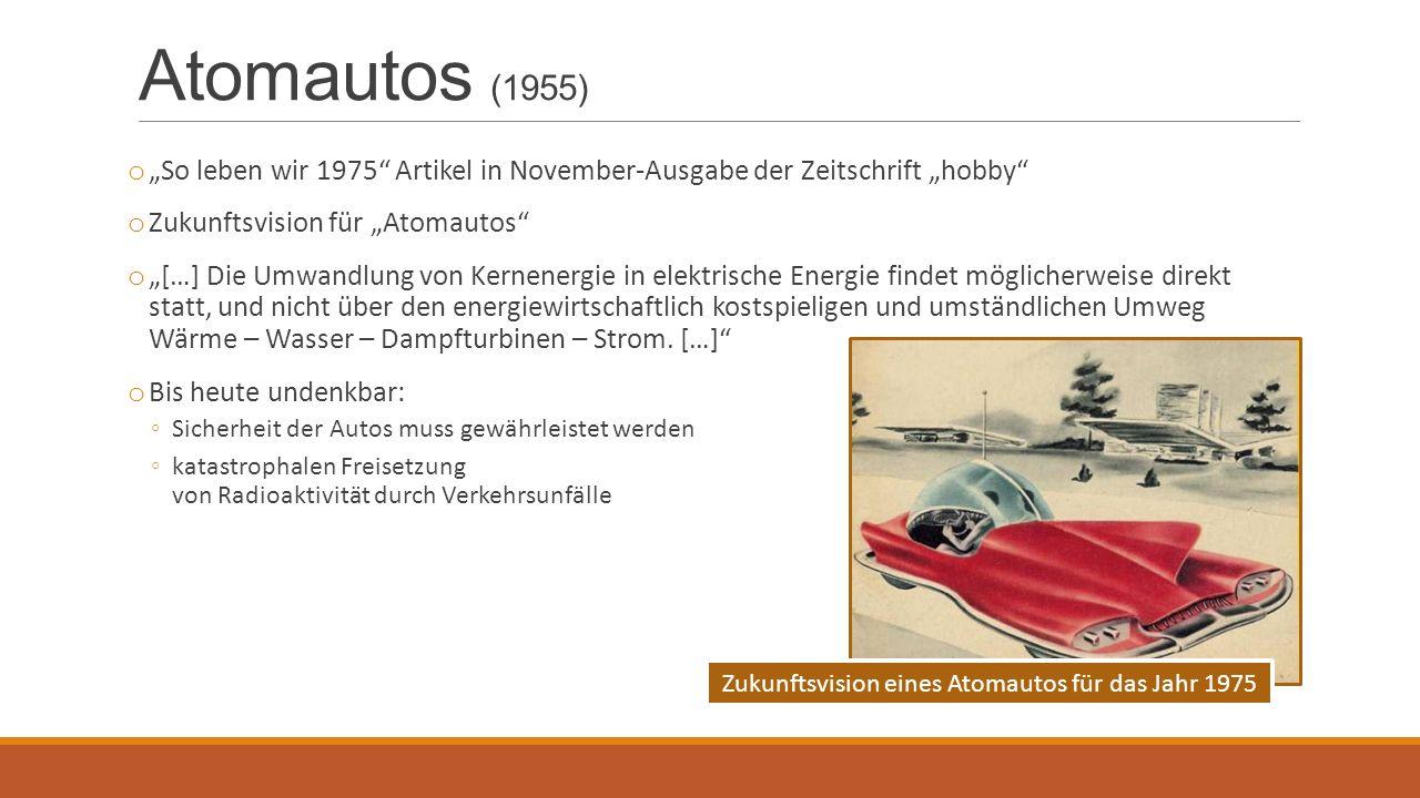 """Atomautos (1955) o """"So leben wir 1975"""" Artikel in November-Ausgabe der Zeitschrift """"hobby"""" o Zukunftsvision für """"Atomautos"""" o """"[…] Die Umwandlung von"""