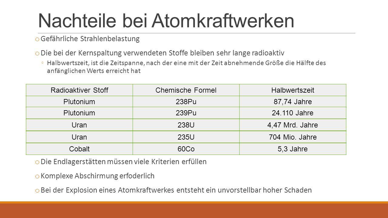 Nachteile bei Atomkraftwerken o Gefährliche Strahlenbelastung o Die bei der Kernspaltung verwendeten Stoffe bleiben sehr lange radioaktiv ◦Halbwertszeit, ist die Zeitspanne, nach der eine mit der Zeit abnehmende Größe die Hälfte des anfänglichen Werts erreicht hat o Die Endlagerstätten müssen viele Kriterien erfüllen o Komplexe Abschirmung erfoderlich o Bei der Explosion eines Atomkraftwerkes entsteht ein unvorstellbar hoher Schaden Plutonium238Pu87,74 Jahre Plutonium239Pu24.110 Jahre Uran238U4,47 Mrd.