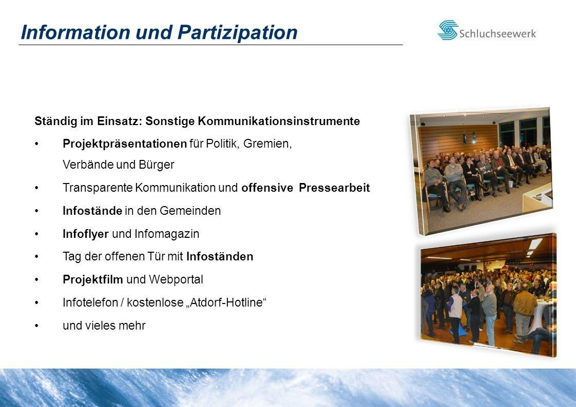 Ständig im Einsatz: Sonstige Kommunikationsinstrumente Projektpräsentationen für Politik, Gremien, Verbände und Bürger Transparente Kommunikation und