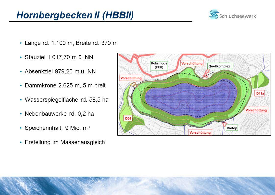 Hornbergbecken II (HBBII) Länge rd. 1.100 m, Breite rd. 370 m Stauziel 1.017,70 m ü. NN Absenkziel 979,20 m ü. NN Dammkrone 2.625 m, 5 m breit Wassers