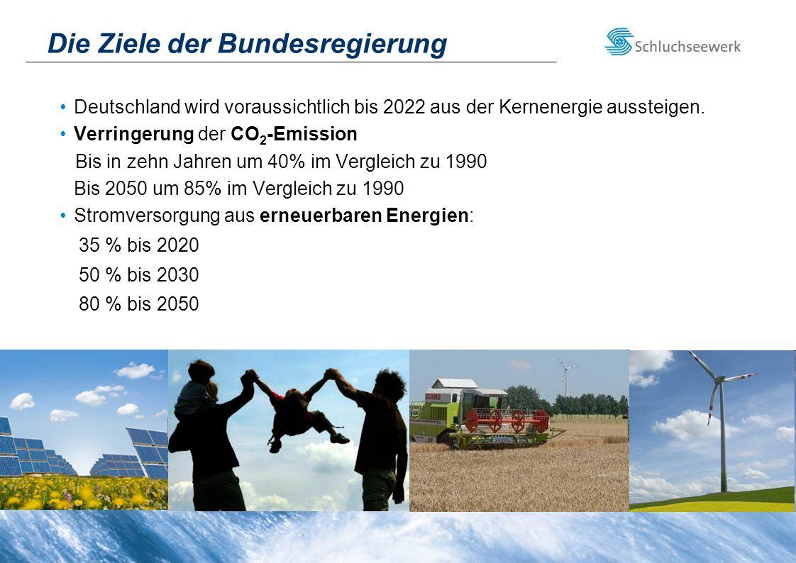 Die Ziele der Bundesregierung Deutschland wird voraussichtlich bis 2022 aus der Kernenergie aussteigen. Verringerung der CO 2 -Emission Bis in zehn Ja