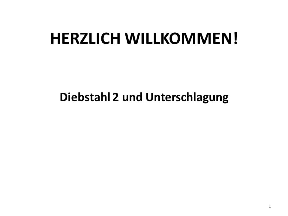 HERZLICH WILLKOMMEN! Diebstahl 2 und Unterschlagung 1