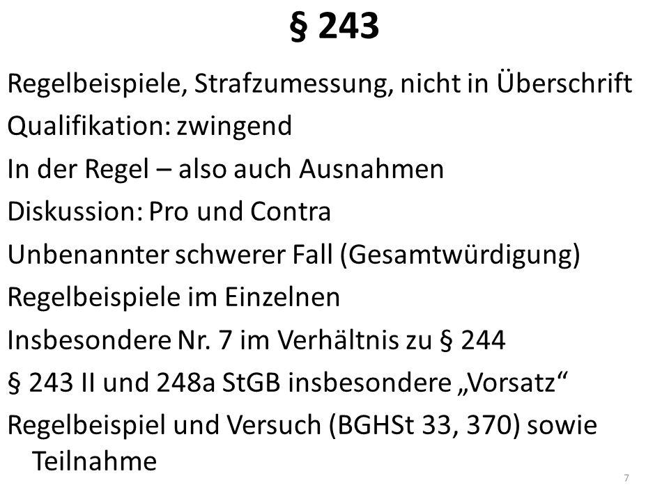 § 247 Haus- und Familiendiebstahl (L!) Keine Störung persönl.
