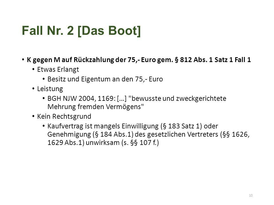 K gegen M auf Rückzahlung der 75,- Euro gem. § 812 Abs. 1 Satz 1 Fall 1 Etwas Erlangt Besitz und Eigentum an den 75,- Euro Leistung BGH NJW 2004, 1169