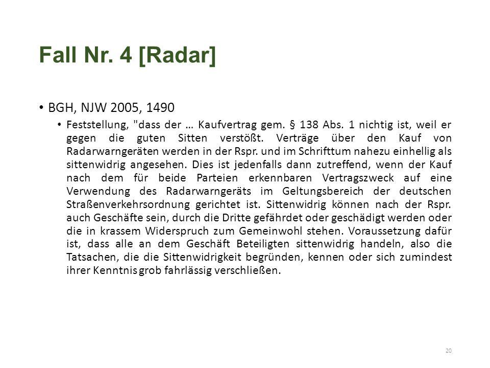 Fall Nr. 4 [Radar] BGH, NJW 2005, 1490 Feststellung, dass der … Kaufvertrag gem.