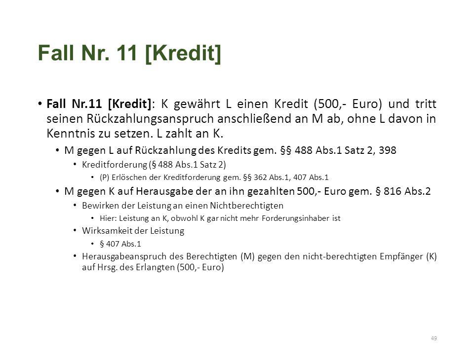 Fall Nr. 11 [Kredit] Fall Nr.11 [Kredit]: K gewährt L einen Kredit (500,- Euro) und tritt seinen Rückzahlungsanspruch anschließend an M ab, ohne L dav