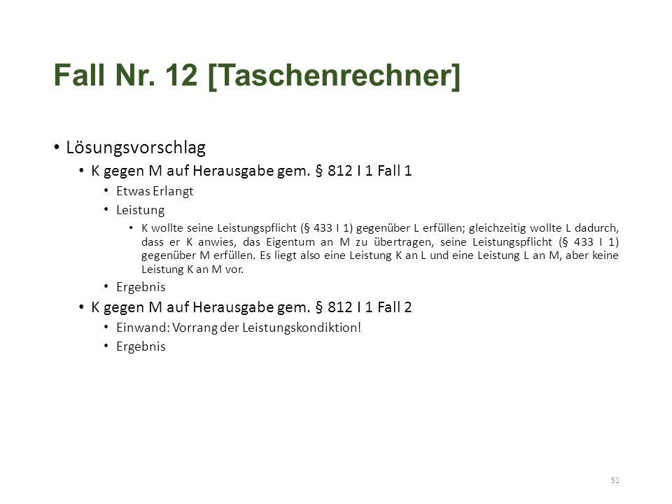 Fall Nr. 12 [Taschenrechner] Lösungsvorschlag K gegen M auf Herausgabe gem. § 812 I 1 Fall 1 Etwas Erlangt Leistung K wollte seine Leistungspflicht (§