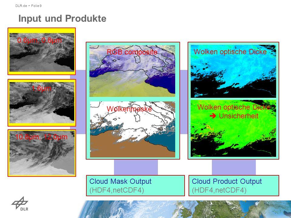 DLR.de Folie 9 Input und Produkte Cloud Product Output (HDF4,netCDF4) Cloud Mask Output (HDF4,netCDF4) 0.6µm, 0.8µm 1.6µm 10.8µm, 12.0µm RGB composite Wolkenmaske Wolken optische Dicke Wolken optische Dicke  Unsicherheit