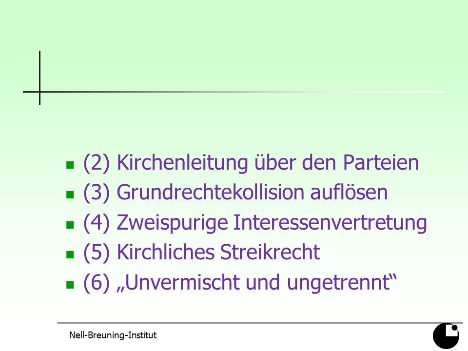 """(2) Kirchenleitung über den Parteien (3) Grundrechtekollision auflösen (4) Zweispurige Interessenvertretung (5) Kirchliches Streikrecht (6) """"Unvermisc"""