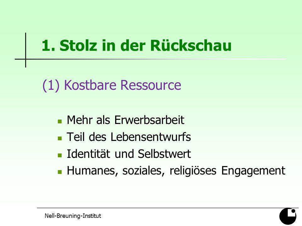 Nell-Breuning-Institut 1. Stolz in der Rückschau (1) Kostbare Ressource Mehr als Erwerbsarbeit Teil des Lebensentwurfs Identität und Selbstwert Humane