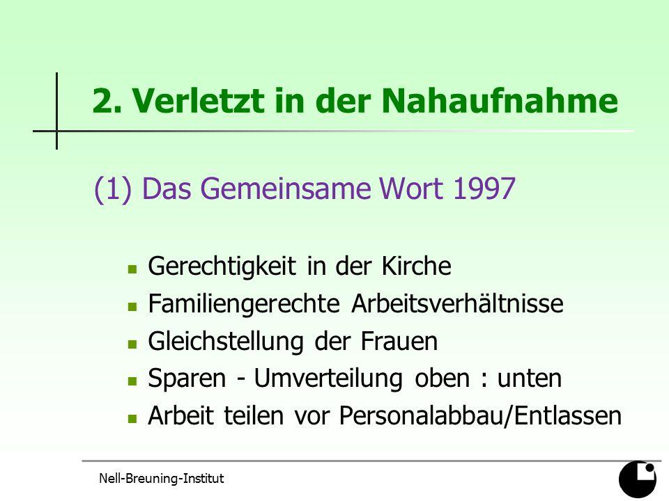 2. Verletzt in der Nahaufnahme (1) Das Gemeinsame Wort 1997 Gerechtigkeit in der Kirche Familiengerechte Arbeitsverhältnisse Gleichstellung der Frauen